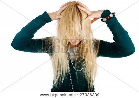 Closeup of young woman under stress