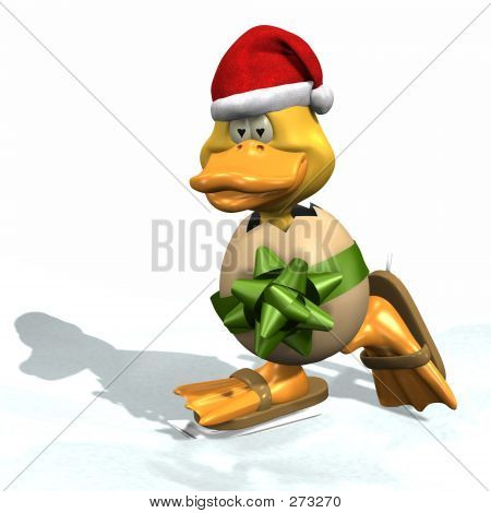 Christmas Skating Duck