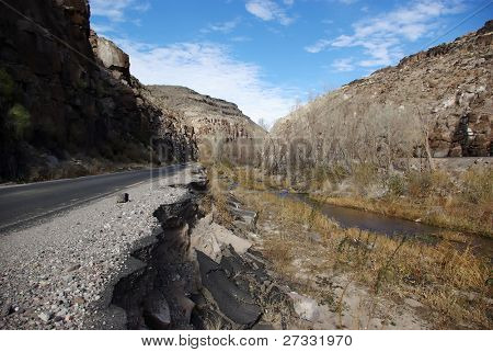 Collapsed road in Nevada