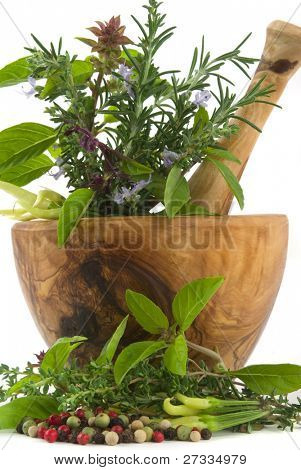 Healing herbs, spices, and edible flowers (hand carved olive tree mortar and pestle)
