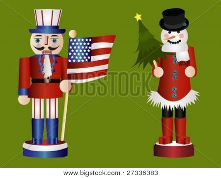 American and snowman Christmas nutcrackers