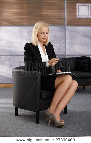 Businesswoman waiting in office lobby armchair, using mobile phone texting, holding personal calendar.?