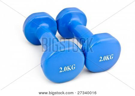 pair of 3 kg rubber dipped blue dumbbell, selective focus