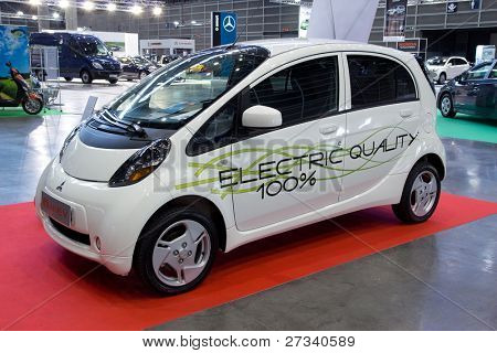 VALENCIA, SPAIN - DECEMBER 5: A 2011 Mitsubishi i-MiEV Electric Car on display at the 2011 Valencia Car Show on December 5, 2011 in Valencia, Spain.