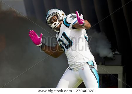 CHARLOTTE, NC - OCT 09, 2011:  Carolina Panthers player, James Anderson, is announced before playing against the New Orleans Saints at the Bank of America Stadium in Charlotte, NC on Oct 9, 2011.