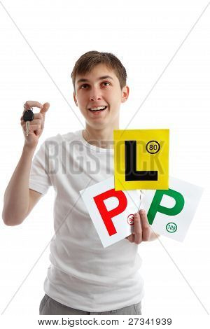 Teenager With Car Licence Plates Looking Up
