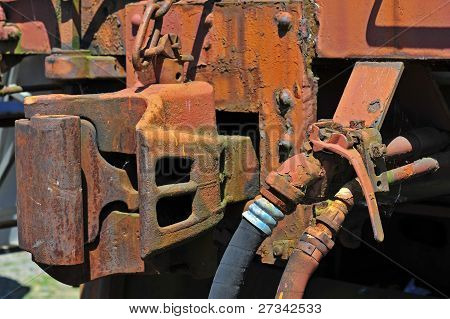 Rusty old railroad coupling