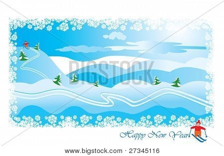 winter landscape with skier: snow hills and pines - Happy New Year postcard