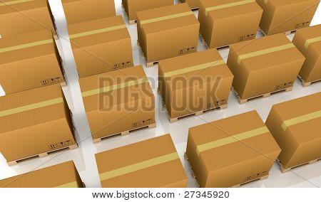 Das Paletten und Kartons