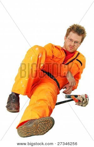 Tired Worker In Orange Workwear With Tools, Isolated On White