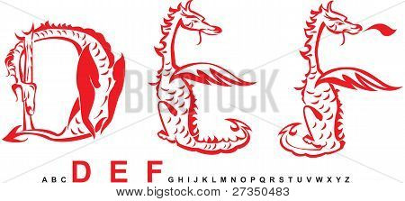 Series of dragons alphabet, letters DEF, fantasy dragon font