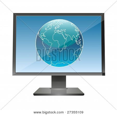 Globe in a monitor