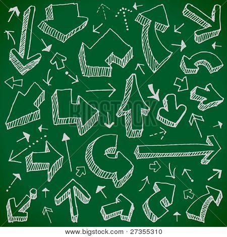 vector set - hand drawn arrows