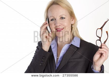Portrait Of An Adult Beautiful Business Woman Speaking On A Phone.