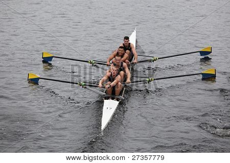 US Naval Academy Mens Fours races in the Head of Charles Regatta