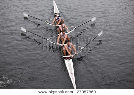 US Rowing Mens Fours races in the Head of Charles Regatta