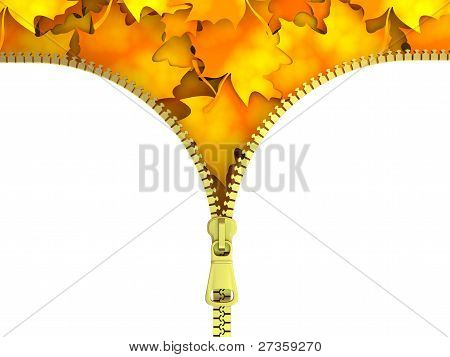 Zipper with  Leaves