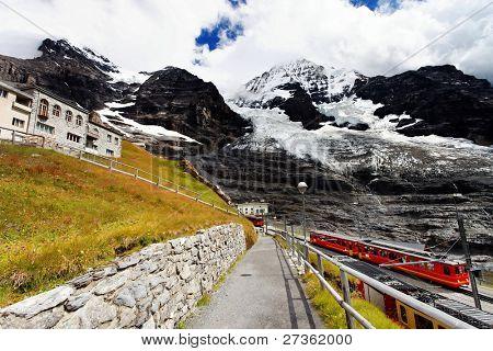 Jungfrau Bahn in Eiger Glacier Railwaystation, Berner Oberland, Switzerland