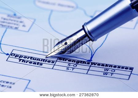 "analyzing business flow chart,pen showing ""Opportunities""&""Threats"""