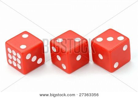 Three Red Dices on White