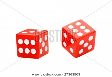 Pair of dices isolated on White
