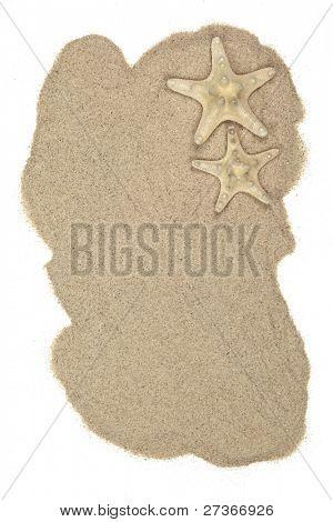 Conchas na areia da praia, isolado no branco.