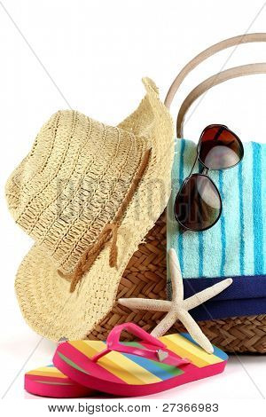 Beach Bag with Towel,straw-hat,Sunglasses and Flip Flops