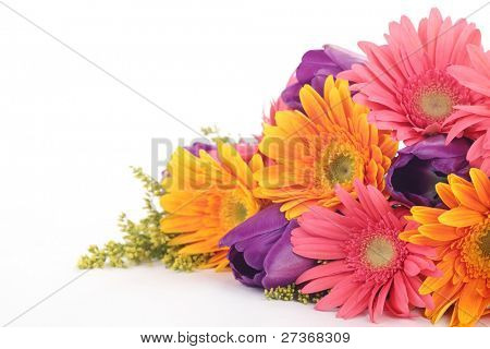 Bouquet of colorful flowers isolated on white background