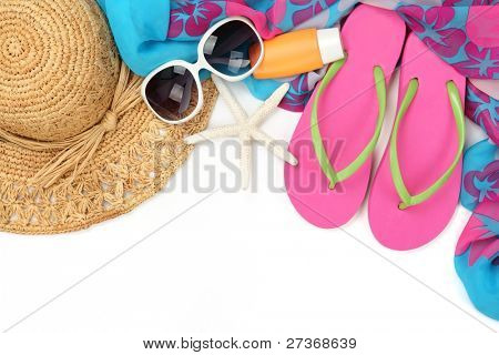 Beach accessories with straw hat, bottle of balm solar,sun glasses,shawl and flip flops on white background.