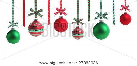 Multicolored  christmas ball with ribbon bow,Isolated on white background.