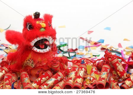 Chinese New Year Decorations--Traditional Dancing Lion,Firecrackers and Confetti.