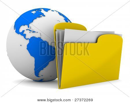 Yellow computer folder and globe on white background. Isolated 3d image