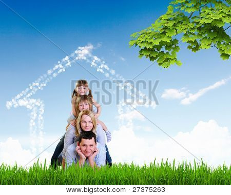 happy family spends time together on nature . Collage.