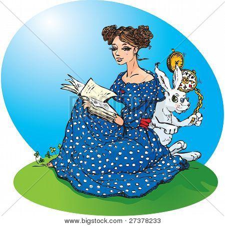 Aventuras de Alicia en el país de las maravillas. Alice lee un libro, White Rabbit run mucha prisa