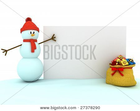 3d snowman over white background