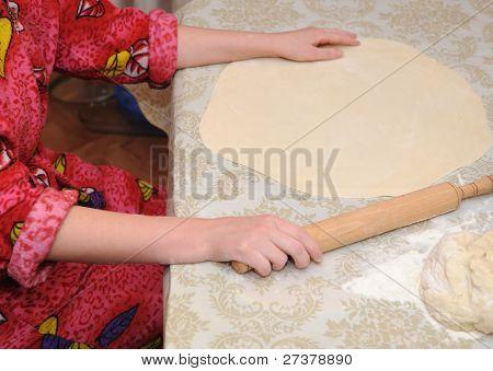 The Woman Prepares Dough