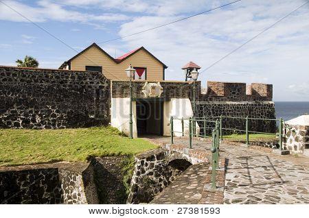 Courtyard Entry Fort Oranje Oranjestad Sint Eustatius Island Caribbean Netherlands