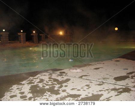 Night Shot Outdoor Heated Pool In Winter