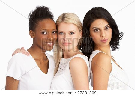 Portrait Of Three Attractive Young Women In Studio