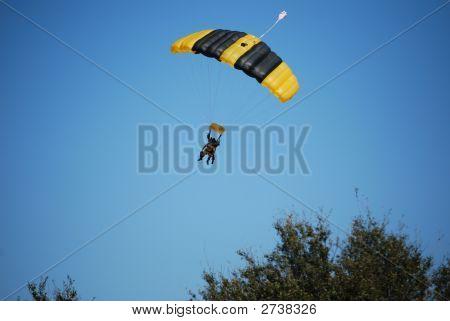 Parachuting Tandem Approaching Landing