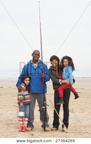 Family On Beach Fishing Trip
