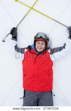 Pre-teen Boy on Ski Vacation