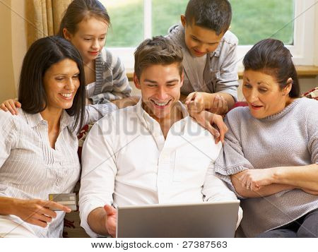 Hispanic family shopping online