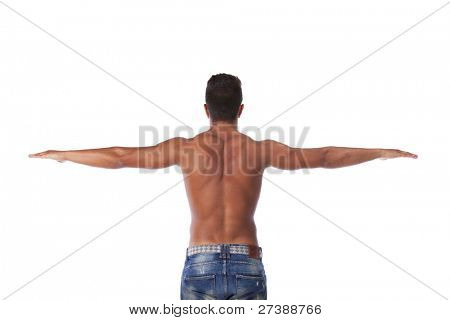 Young man with a perfect muscle body (isolated on white)