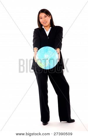 Asian Businesswoman With Globe