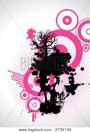 Grungy Pink Skull, Vector