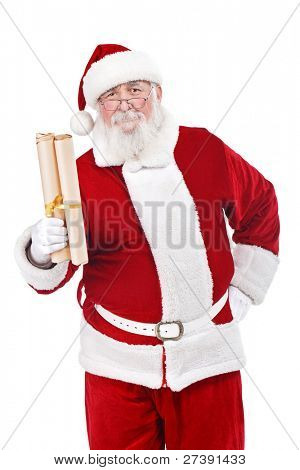 traditional Santa Claus with  real beard holding scroll paper with wishes, isolated on white background