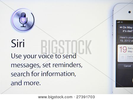 CUPERTINO, CA - DEC 9: Siri, the iphone intelligent software assistant helps Apple sell 30 million iPhones in the December quarter, shares could hit $510 on Dec 9, 2011 in Cupertino, California.