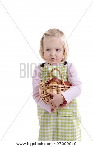 Little Girl With Apples In Basket