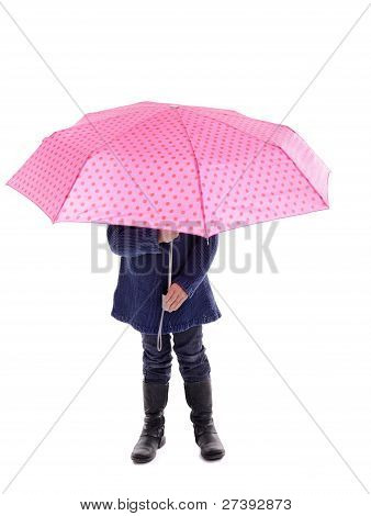 Little Girl Hiding Under A Pink With Dots Umbrella